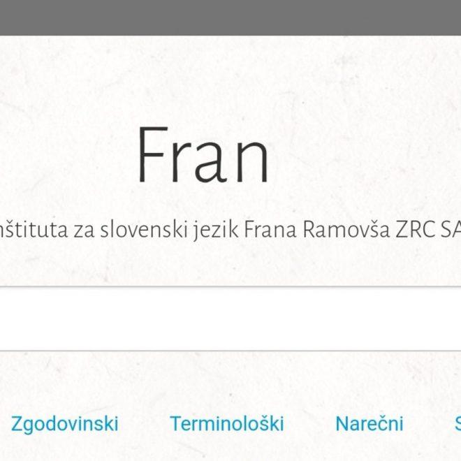 Slovenski slovarji FRAN sedaj kot aplikacija